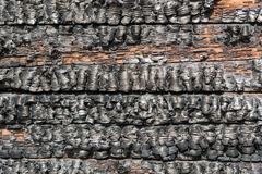 Burnt wooden wall Stock Photo