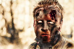 Burnt zombie standing in smouldering horror forest Royalty Free Stock Photos