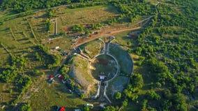 Burnum Roman amphitheater, aerial stock video footage