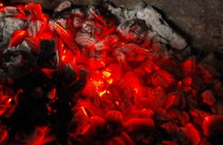 Burny red hot coal. Red hot coal in the chimney royalty free stock photography