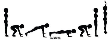 Burpee Burpees Sport exersice Schattenbilder der Frau Übung tuend Training, bildend aus vektor abbildung