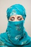 burqa的妇女与构成 免版税库存图片