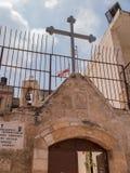 BURQIN, PALESTINA - 11 het beeldhouwwerk van Juli 2015 van St George ridder Royalty-vrije Stock Foto's