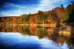Burr Pond State Park autumn landscape. Reflections of the colorful fall foliage on the water at Burr Pond Torrington, Connecticut during autumn royalty free stock photography