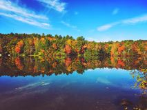 Burr Pond state park autumn view. Burr Pond state park beautiful autumn views in Torrington Connecticut Royalty Free Stock Photography