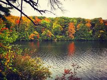Burr Pond state park autumn view. Burr Pond state park beautiful autumn views in Litchfield Connecticut United States on a rainy day Royalty Free Stock Image