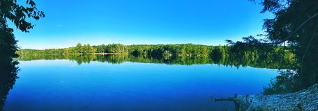 Burr pond state park beautiful summer and autumn lake views. In Torrington New England Connecticut United States on a sunny day royalty free stock images