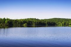 Burr Pond State Park Summer landscape. The lake within in Burr Pond State Park in Torrington, connecticut on a summer day stock image