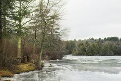 Burr Pond State Park Winter landscape. A landscape picture the frozen waters of Burr Pond State Park in winter in new england stock photography