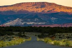 The Burr Trail - Utah. Near Boulder, Utah. The Burr Trail enters Capitol Reef National Park in the waterpocket fold district stock photos