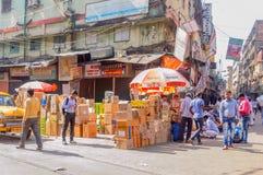 Burrabazar, Kolkata: Busy street market on a labor day stock photography