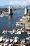 Burrard bridge & False creek bay and marina. Royalty Free Stock Photography