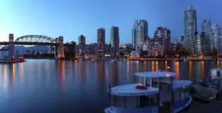 The Burrard bridge & False creek at dusk, Canada. Royalty Free Stock Photo