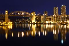 Burrard Bridge, False Creek Twilight Long Exposure Royalty Free Stock Photos