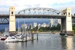Burrard bridge Granville island, Vancouver BC. Stock Images