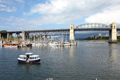Burrard bridge Granville island, Vancouver BC. Stock Photography