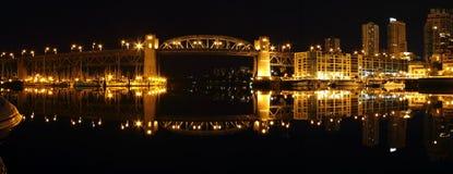 Burrard Bridge Night Panorama, Vancouver Royalty Free Stock Photos