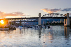 Burrard Bridge in Vancouver at Sunset Royalty Free Stock Photography