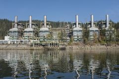 Burrard Generating Station, a steam plant in Port Moody stock image