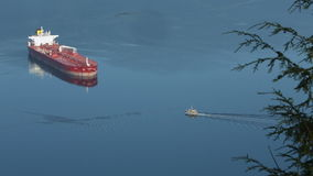Burrard Inlet Anchored Oil Tanker stock footage