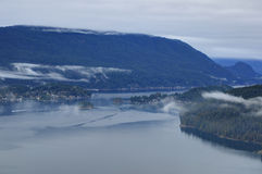 Burrard Inlet and Belcarra Park with low clouds at blue hour Stock Photography