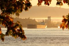 Burrard Inlet Freighter, Vancouver Stock Photos