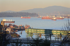 Burrard Inlet Freighters Royalty Free Stock Image