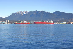 Burrard Inlet and Grouse Mountain Royalty Free Stock Image