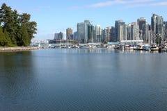 Burrard inlet marina & Vancouver BC skyline. Royalty Free Stock Photography