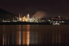 Burrard Inlet Refinery Night, British Columbia Royalty Free Stock Photo