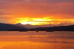 Burrard Inlet at sunset time Stock Photo