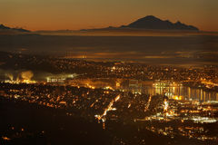 Burrard Inlet Twilight, Mount Baker, Vancouver Stock Photo