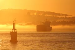 Burrard Inlet Vancouver, Morning Freighter Royalty Free Stock Image