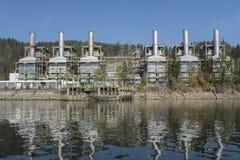 Burrard produisant de la station, une usine de vapeur dans le port déprimé image stock