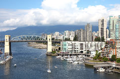 Burrard and skyline of south Vancouver BC Canada. Royalty Free Stock Photos
