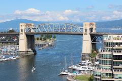Burrard Street Bridge. Looking west on the Granville Street Bridge in downtown Vancouver, BC Stock Photos