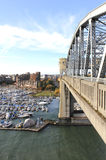 The Burrard Street Bridge. Looking south from downtown Vancouver, across False Creek Stock Photography