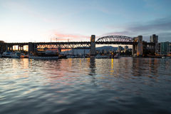 The Burrard Street Bridge Of Vancouver. Overlooking The Waters Of False Creek And Downtown Vancouver stock photography