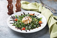 Burrata and arugula salad. With balsamic vinegar stock photo