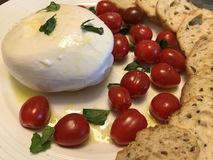 Burrata cheese. With cherry tomatoes basil and baguette crisps royalty free stock photo