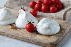 Burrata cheese. Fresh delicious burrata cheese typical from Apulia region, Italy stock photos