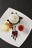 Burrata cheese with gazpacho sauce overhead Royalty Free Stock Image
