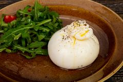 Burrata cheese with oil. And ruccola stock photography