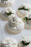 Burrata cheese on a production Royalty Free Stock Photo