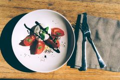 Burrata cheese with tomatoes. Fresh burrata cheese with tomatoes basil and olive oil stock images