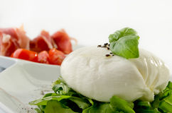 Burrata. With prosciutto on white plate royalty free stock images