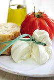 Burrata (sort of very fresh mozzarella cheese), tomato and bread. Selective focus royalty free stock photo