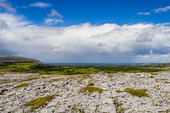 Burren landscape, County Clare, Ireland. Burren region, Clare, Ireland - August 23, 2010: The Burren measures 250 square kilometres and is enclosed roughly Royalty Free Stock Photo