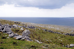 The Burren near Derreen, West Eire. Atlantic coastline, county Clare. The Burren near West Derreen, West Eire Royalty Free Stock Images