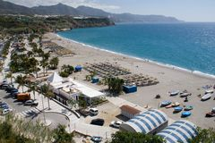 Burriana Beach. Beach in Nerja, Costa del Sol, Spain Royalty Free Stock Photography